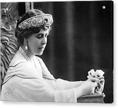 Queen Elizabeth The Queen Mother Acrylic Print by Underwood Archives