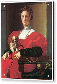 Lady In A Red Dress Acrylic Print by Jacopo Pontormo