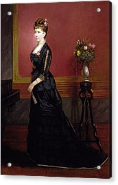 Lady In Black Acrylic Print by Edouard Ender