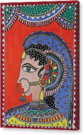 Lady In Ornaments Acrylic Print by Shakhenabat Kasana