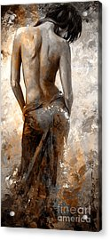 Lady In Red #27 Digital Colored Rust Acrylic Print by Emerico Imre Toth