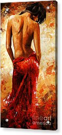 Lady In Red 27 Acrylic Print by Emerico Imre Toth