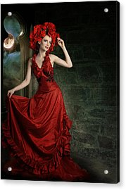 Lady In Red Acrylic Print by Ester  Rogers