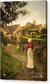 Lady In Regency Dress Walking Acrylic Print by Jill Battaglia