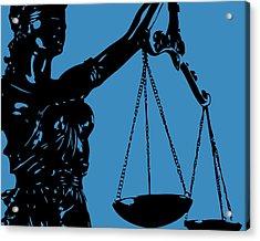 Lady Justice Blue Acrylic Print by Flo Karp