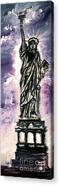 Lady Liberty Charcoal And Oil Acrylic Print by Ginette Callaway