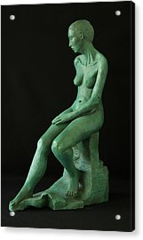 Lady On The Rock Acrylic Print by Flow Fitzgerald