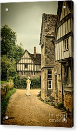 Lady Walking In The Village Acrylic Print by Jill Battaglia