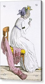 Lady Wearing A Negligee, From Costume Acrylic Print by French School