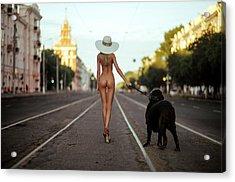 Lady With Her Dog Acrylic Print by Gene Oryx