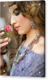 Lady With Pink Rose Acrylic Print by Angela A Stanton