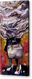 Lady With Suitcase And Storm Cloud Acrylic Print by Tilly Strauss