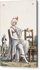 Ladys Promenade Dress, 1800 Acrylic Print by Philibert Louis Debucourt