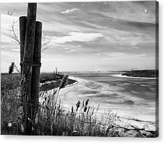 Lake Ice Bw Acrylic Print by Peter Chilelli