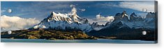 Lake In Front Of Mountains, Lake Pehoe Acrylic Print by Panoramic Images