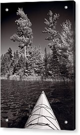 Lake Kayaking Bw Acrylic Print by Steve Gadomski