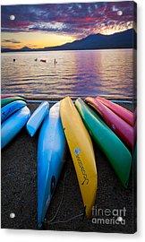 Lake Quinault Kayaks Acrylic Print by Inge Johnsson