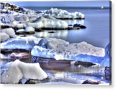 Lake Superior Ice Acrylic Print by Amanda Stadther