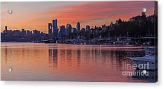 Lake Union Dawn Acrylic Print by Mike Reid