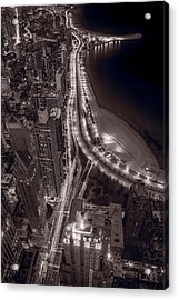 Lakeshore Drive Aloft Bw Warm Acrylic Print by Steve Gadomski