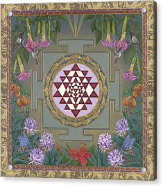 Lalita's Garden Sri Yantra Acrylic Print by Nadean OBrien