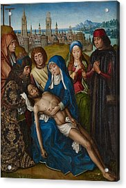 Lamentation With Saint John The Baptist And Saint Catherine Of Alexandria Acrylic Print by Master of the Legend of Saint Lucy