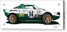 Lancia Stratos Hf On White Acrylic Print by Alain Jamar