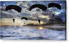 Landing At Sunset Acrylic Print by Betsy Knapp