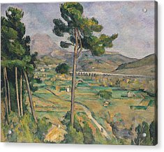 Landscape With Viaduct Acrylic Print by Paul Cezanne