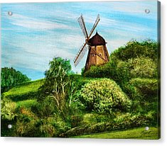 Landscape With Windmill Acrylic Print by Gynt Art