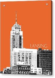 Lansing Michigan Skyline - Coral Acrylic Print by DB Artist