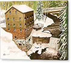 Lantermans Mill In Winter - Mill Creek Park Acrylic Print by Laurie Anderson