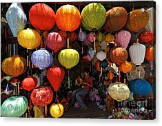 Lanterns Hanging In Shop In Hoi An Acrylic Print by Sami Sarkis