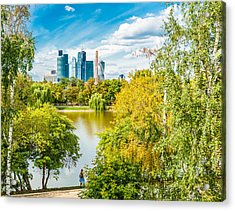 Large Novodevichy Pond Of Moscow - 4 Acrylic Print by Alexander Senin