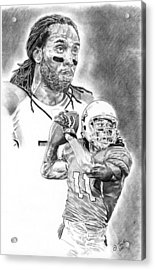 Larry Fitzgerald Acrylic Print by Jonathan Tooley