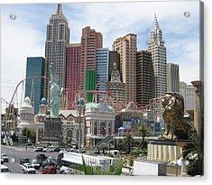 Las Vegas - New York New York Casino - 12121 Acrylic Print by DC Photographer