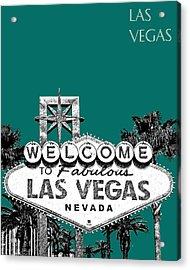 Las Vegas Welcome To Las Vegas - Sea Green Acrylic Print by DB Artist
