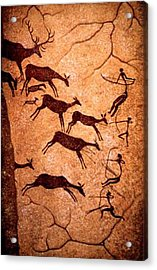 Lascaux Stag Hunting Acrylic Print by Asok Mukhopadhyay