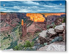 Last Light On Spider Rock Canyon De Chelly Navajo Nation Chinle Arizona Acrylic Print by Silvio Ligutti