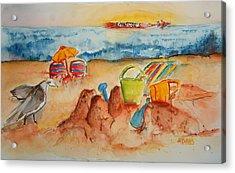 Late Afternoon Beach Acrylic Print by Elaine Duras
