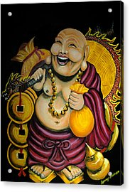 Laughing Buddha For Prosperity Acrylic Print by Saranya Haridasan
