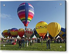 Launch Site At The Albuquerque Hot Air Acrylic Print by William Sutton
