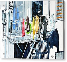 Laundry Day In San Francisco Acrylic Print by Tom Riggs