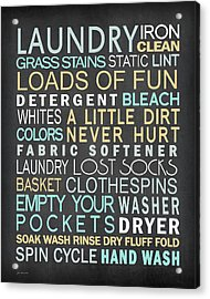 Laundry List Acrylic Print by Jo Moulton
