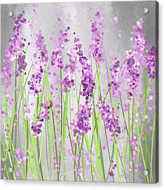 Lavender Blossoms - Lavender Field Painting Acrylic Print by Lourry Legarde