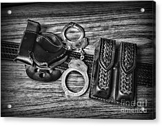 Law Enforcement - Police - Duty Belt In Black And White Acrylic Print by Paul Ward