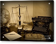 Lawyer - The Lawyer's Desk In Black And White Acrylic Print by Paul Ward