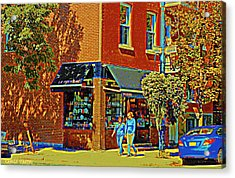 Le Fouvrac Foods Chocolates And Coffee Shop Corner Garnier And Laurier Montreal Street Scene Acrylic Print by Carole Spandau