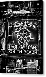 Leaning On Mango's South Beach Miami - Black And White Acrylic Print by Ian Monk