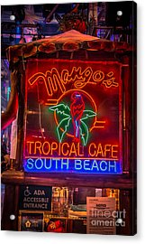 Leaning On Mango's South Beach Miami - Hdr Style Acrylic Print by Ian Monk